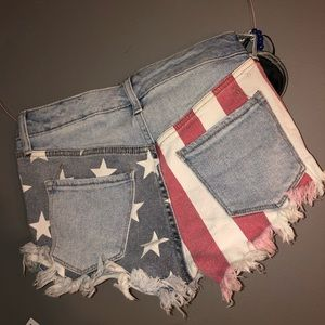destroyed denim USA high rise denim shorts